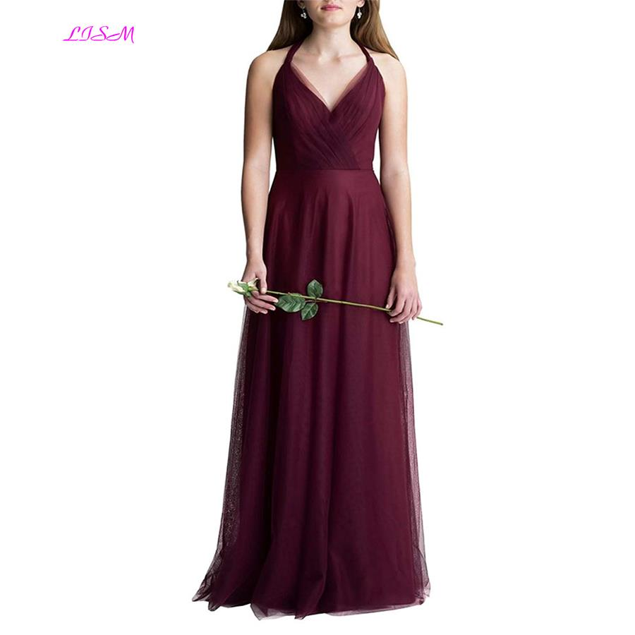 Halter Crossed Back Tulle   Bridesmaid     Dress   Elegant A Line Ruched Long Prom Gowns V Neck Floor Length Cheap   Dresses   for Weddings