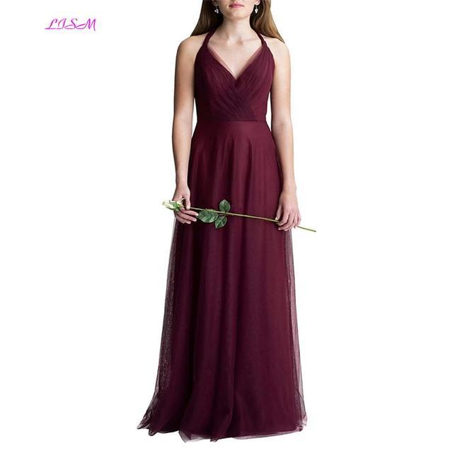 הלטר חצה בחזרה טול שושבינה שמלה אלגנטי קו Ruched ארוך נשף שמלות V צוואר מקיר לקיר זול שמלות חתונות