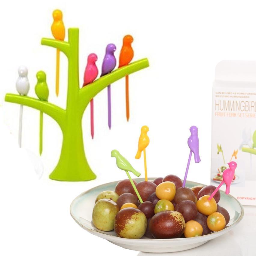 Saingace птичка фрукты Вилы Товары для птиц на дереве десерт торт Столовая посуда коктейль Домашний декор для ребенка счастливым продажи ap526