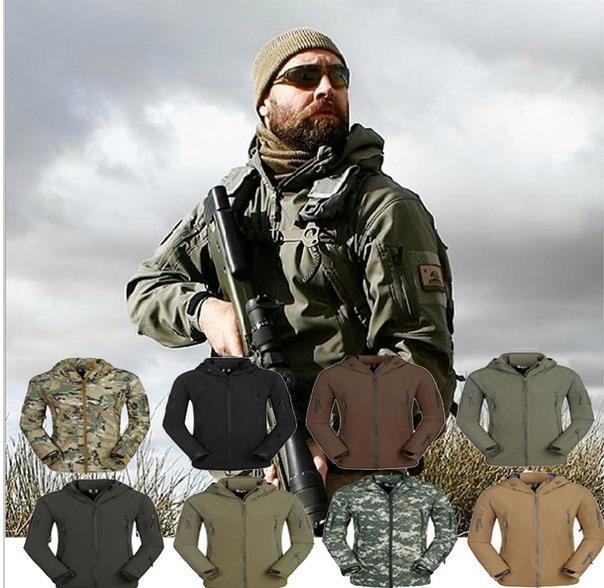 TAD Shark Skin Camouflage Outdoors Military Jacket Men Waterproof Tactical Softshell Sports Hoodies Army Hunting Outdoor Jackets - handsome hi Store store