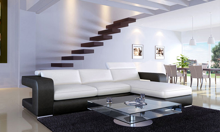Free Shipping 2013 New Modern Design Small L Shaped Corner Genuine Leather  Sofa LC9100(China