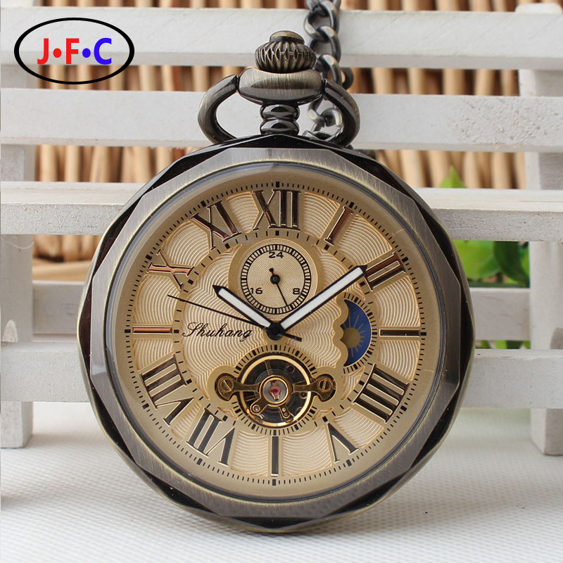 ФОТО 2017 new automatic mechanical watch movement pocket watch Rome stars of male and female students watch