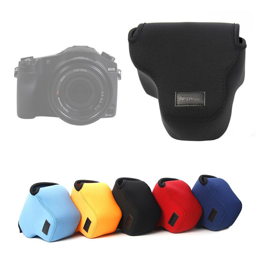 portable Neoprene Soft Camera Bag For Sony RX10 Cyber-Shot DSC-RX10 RX10M2 RX10II H200 HX200 Camera Case protective Cover Pouch фотоаппарат sony cyber shot dsc rx10m2