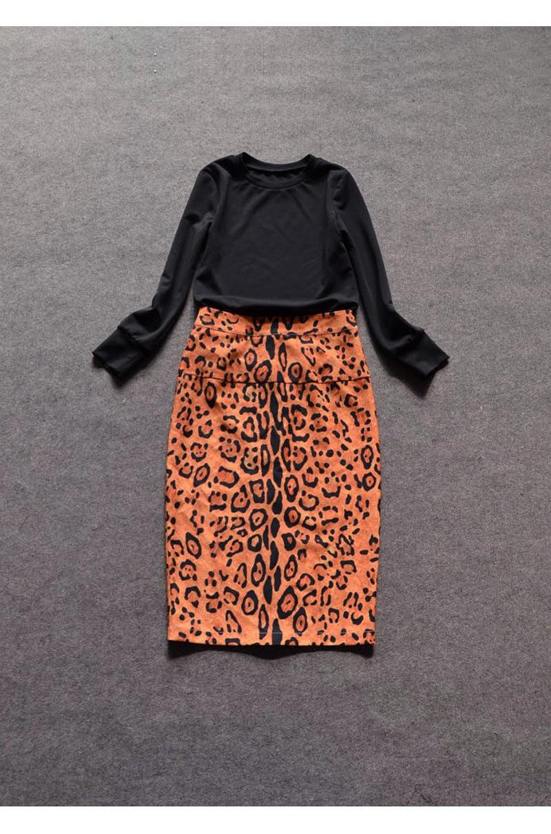 b9fbaf0924a 2016 New Fashion Twin Set Dress Black Top+Leopard Printing Skirt ...