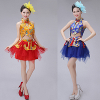 Red Blue chinese traditional dance costume for Women dragon Girls Adult folk dance costumes modern hanfu Adult lion national