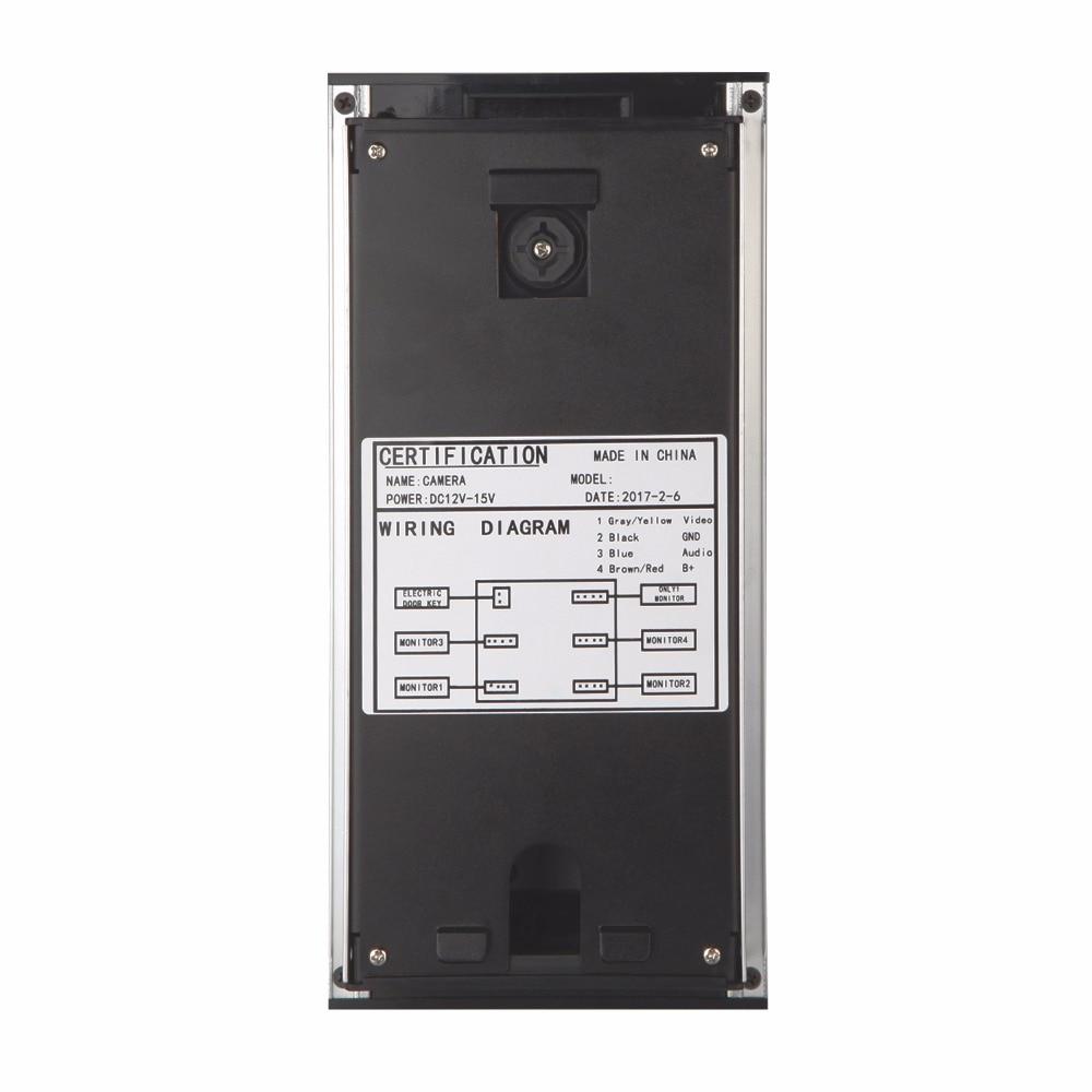 SmartYIBA Video Intercom 4.3 Inch Video Door Phone Doorbell Intercom System RFID Access Control Door Camera For 4 Unit Apartment