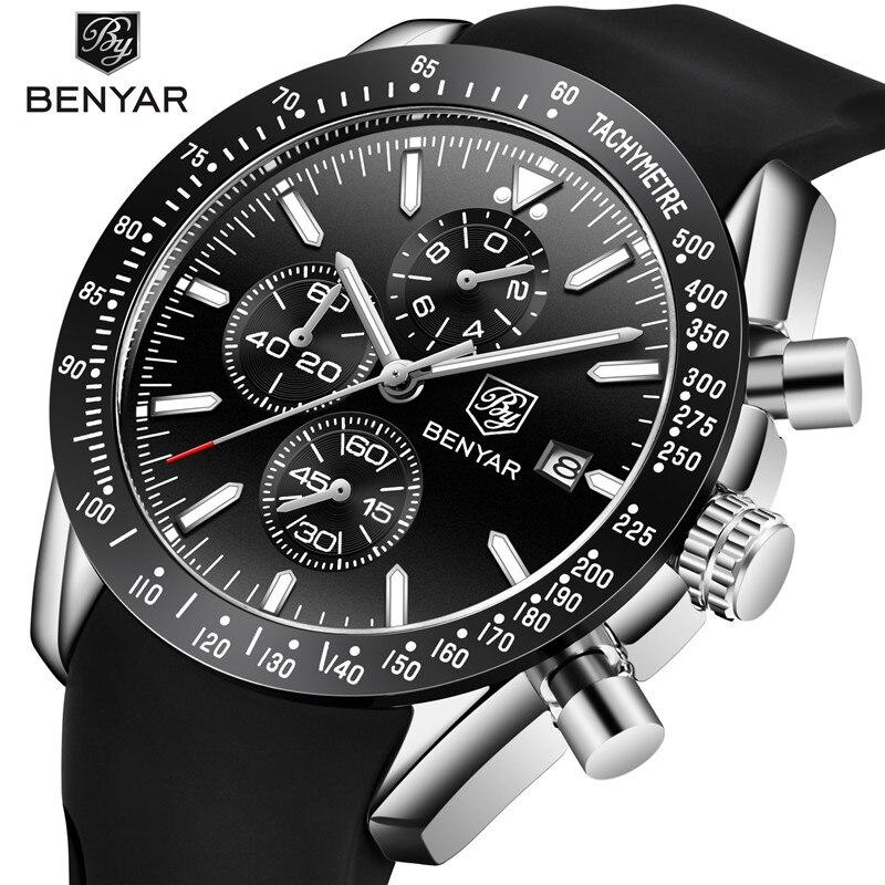 Relogio Masculino BENYAR New Men Watches Top Brand Luxury Silicone Waterproof Sports Quartz Chronograph Military Watch Men Clock все цены