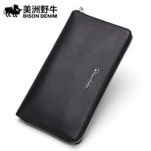 BISON DENIM Men Genuine Leather Large Capacity Clutch Bag Business Handbags High Quality Cowhide Wallet Men's Bag Free Shipping