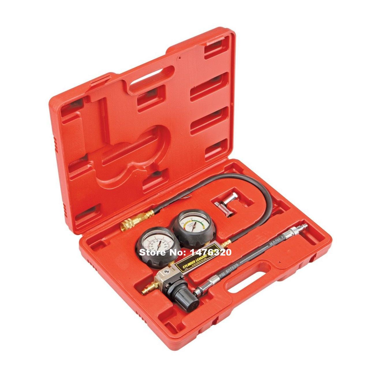 Car Petrol Engine Cylinder Compression Leakdown Diagnostic Tester Gauge Tool Set AT2199  fuel injection pressure car gauge petrol engine set dual scale cylinder compression carburetor pressure diagnostic tool tester