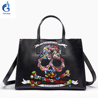 Gamystye 2016 New Graffiti Totes Design Bags Hand Paint Skull Handbags Women Bags Genuine Leather Shoulder