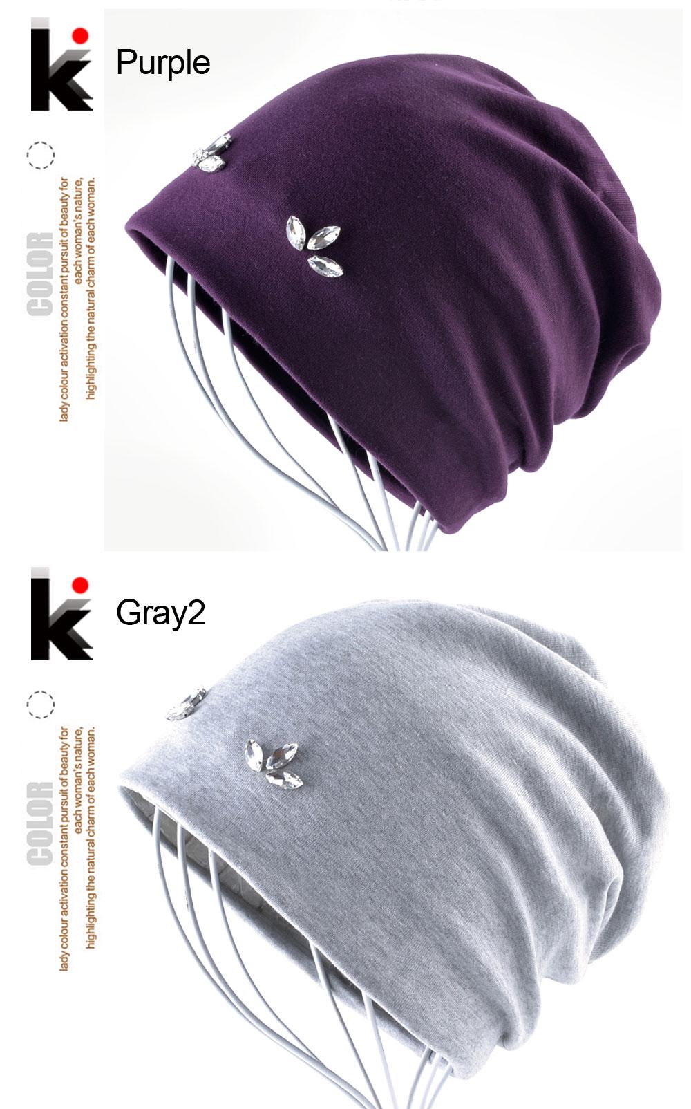 Women Beanies Spring Autumn Solid Color Skullies Hat Rhinestone Pearl Flower Cap