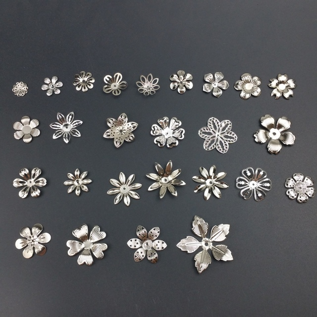 Metal Filigree Flowers Torus, bottom, flower cap  Charms Setting Jewelry DIY Components Receptacle 1