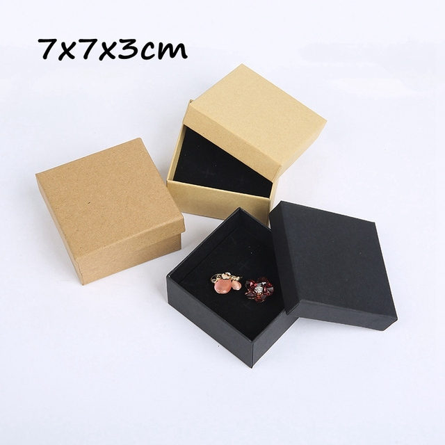 18pcs 7x7x3cm Jewelry Box Carton Paperboard Ring And Earring Packaging Necklace Gift