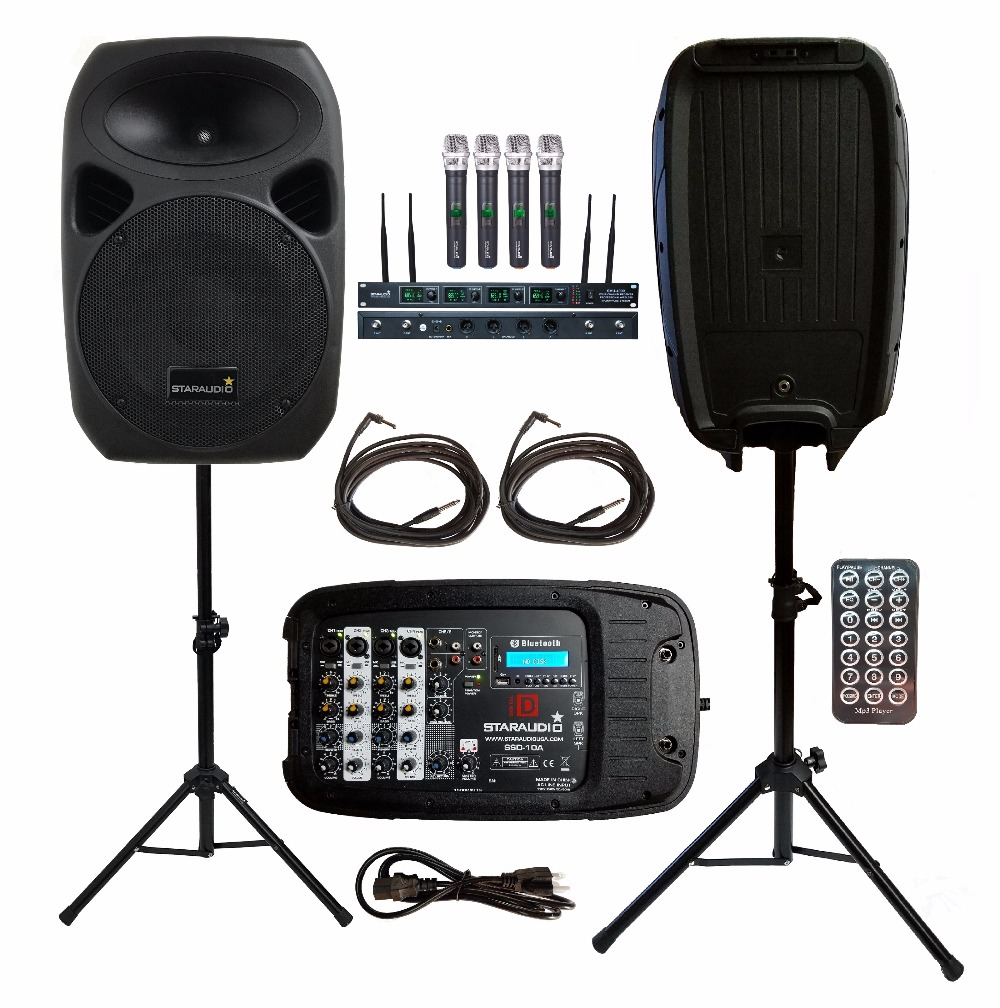 2Pcs STARAUDIO 1500W 10PA DJ Party Stage Passive BT Speakers With 4CH UHF Wireless Mics Stands W/ Powered Mixer Cables SSD-10A