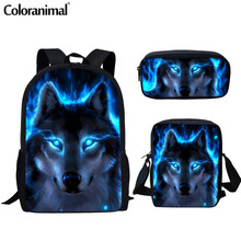 Coloranimal Men Backpack Cool Animal Blue Wolf School Bag for Teenager Girl Boy Primary Bags Junior Kid Book