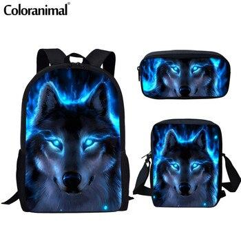 цена на Coloranimal Men Backpack Cool Animal Blue Wolf School Bag for Teenager Girl Boy Primary School Bags Junior Backpack Kid Book Bag