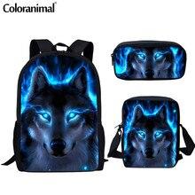 Coloranimal Men Backpack Cool Animal Blue Wolf School Bag fo