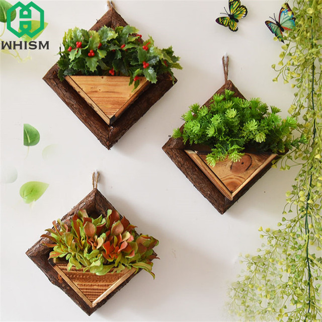 Whism Wall Hanging Flower Pots Wooden Container Wood Ornamental Baskets Mount Flowerpots Garden
