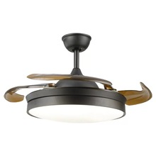 Modern invisible acrylic LED panel ceiling fan light silent restaurant lighting remote control dimming