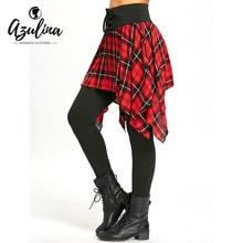 AZULINA Plaid Lace Up Asymmetric Skirted Leggings Women Pant Casual Slim High Waist Cotton Pencil Pants Women Trousers Leggings
