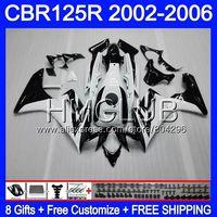 Body+Tank For HONDA 125CC CBR125RR CBR125R 02 03 04 05 06 75HM.0 CBR 125R CBR 125R 2002 2003 2004 2005 2006 Fairing Black white