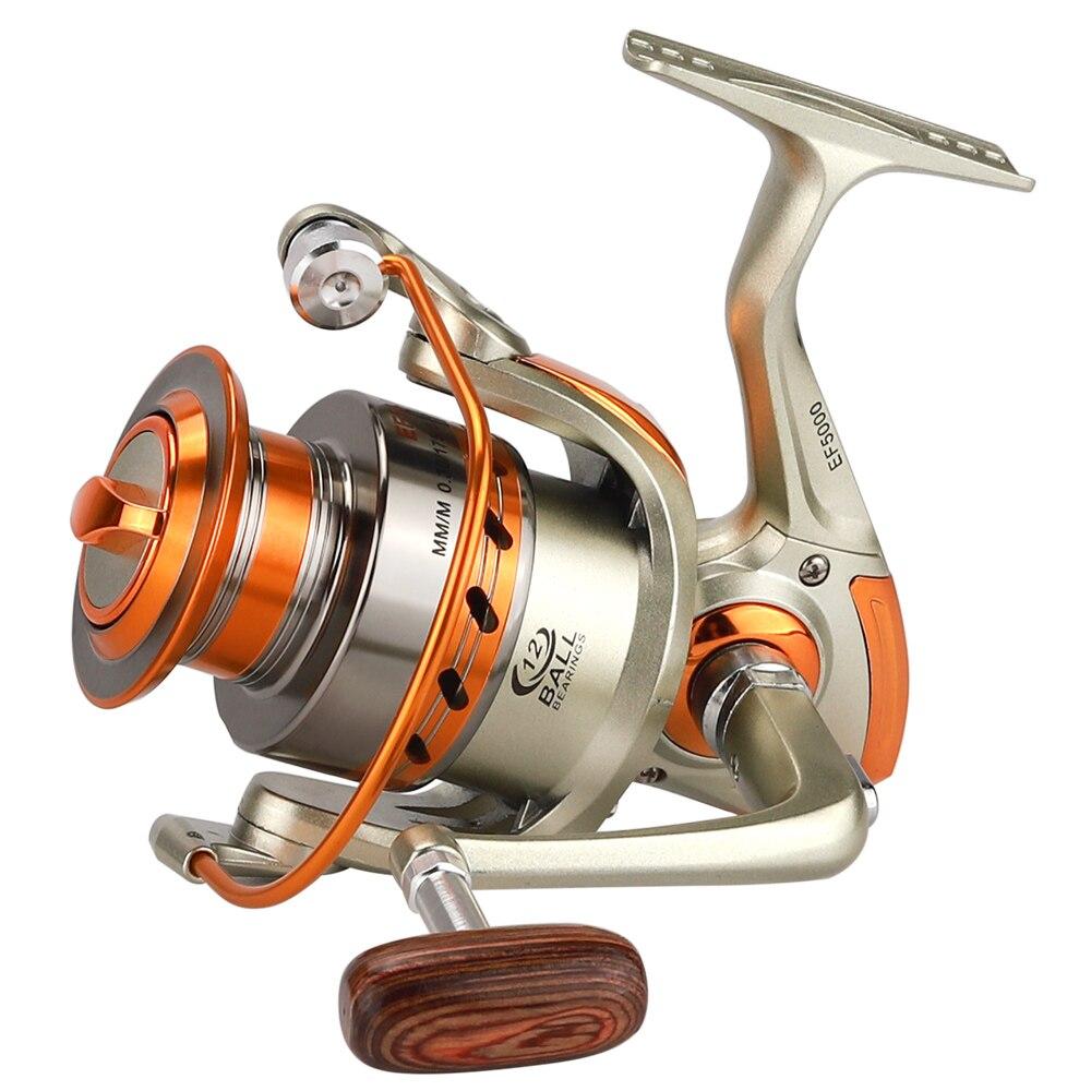 500-9000 Serie Metallo Superiore Spinning Bobina di Pesca Rapporto 5.2: 1 12BB maniglia di legno carretilhas de pe Ruota Lure Reel