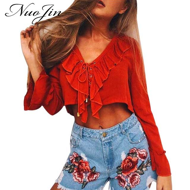 568bfe2769fb NuoJin Sexy Ruffles Lace Up Chiffon Blouse Shirt Women Long Sleeve Tops  Boho Chic Crop Top