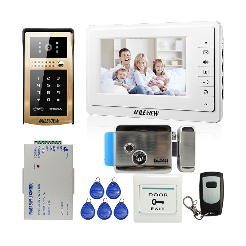 FREE SHIPPING New 7 inch TFT Screen Video Door Phone Intercom System + RFID Keypad Unlock Outdoor Camera + Electric Control Lock free shipping 7 lcd video door phone intercom system 2 screens rfid access code keypad password camera electric control lock