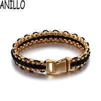 ANILLO Men Bracelet Fashion Genuine Leather Braid Rope Bracelets Bangles Stainless Steel Double Chain Charm Jewelry