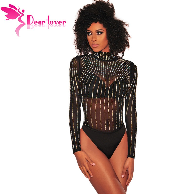 1a9c49e912 Dear Lover 2019 New Spring Long Sleeve Sexy Bodysuit Women Romper Mesh  Rhinestone Embellished Mock Neck