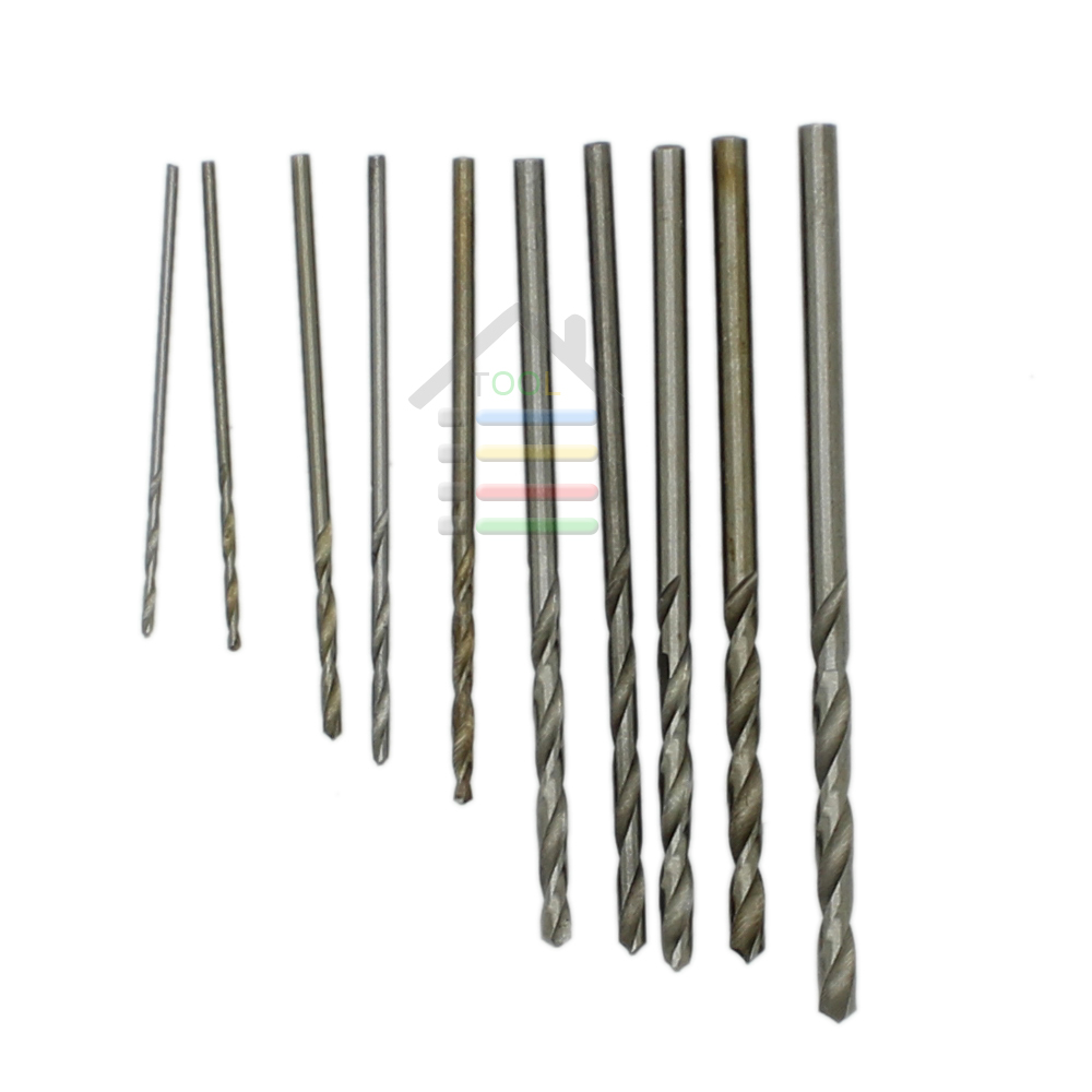 New 10pcs Jobbers Mini Micro HSS Twist Drill Bits 0.5-3mm for Wood PCB Presses Drilling Dremel Rotary Tools autotoolhome mini dc 12v electric motor for wood pcb hand drill press drilling 0 5 3mm twist bits and jto chucks bracket stand