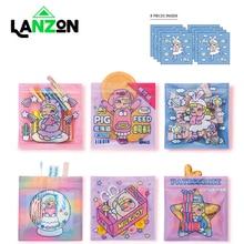 8pcs Cute Cartoon Korea Printed Coin Purse Unicorn Teddy Crystal Transparent Jelly Rabinbow Storage bag Food Sealed bags