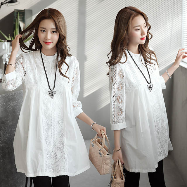 ad2927f401b placeholder High Quality Office Lady Shirt Dress for Pregnant Women 2017  Autumn Formal Maternity Clothes White Lace
