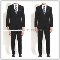 2014 Top Quality 100 Wool Free Shipping Solid Dark Navy Notch Lapel Double Vent Two Buttons