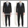 Top Quality 100% lã personalizado feito sólido escuro marinha notch lapela dupla ventilação dois botões duas peças elegantes ternos dos homens!!