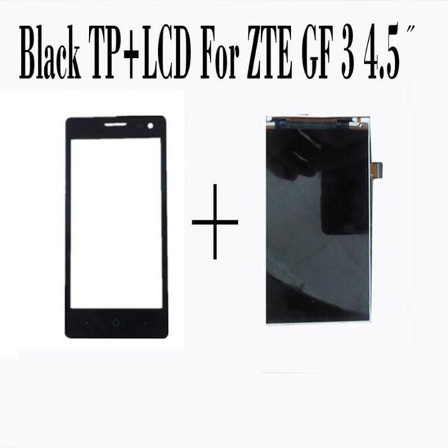Para zte blade gf3 4.5 ''black touch screen digitador de vidro sensor + visor do painel de lcd de substituição do conjunto de tela