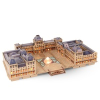 Building Puzzle Toy of 3D Stereo France Paris Louvre Model Toy Boy Girls DIY Blocks Toys with LED Lighting