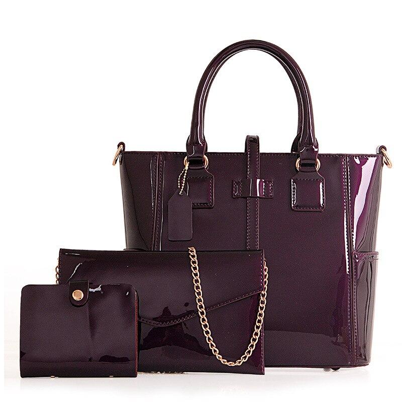 Women Bag Famous Brands Patent Leather Shoulder Bag 3 PCS / SET Designer Handbags High Quality Female Fashion Composite Bags