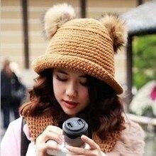Женская мода Зима Теплая Два Меха Волос Лампы Шапочка Ручной Вязки Hat Cap