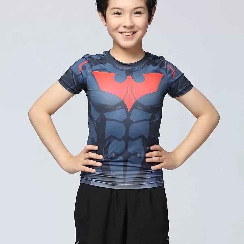 2016 Marvel Batman Kinder Kompression Shirt Fitness Strumpfhosen Crossfit Quick Dry Kurzarm T-shirt Sommer T Tops Clothing Letzter Stil