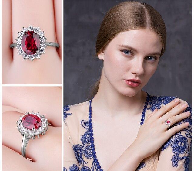 JewelryPalace Principessa Diana William Kate Middleton di 3.2ct Creato Rosso Rubino di Fidanzamento 925 Anello In Argento Sterling Anello di Cerimonia Nuziale