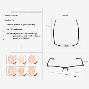 Image 5 - KATELUO 2020 알루미늄 컴퓨터 고글 안티 블루 라이트 피로 방사선 방지 남성 안경 광학 안경 프레임 130