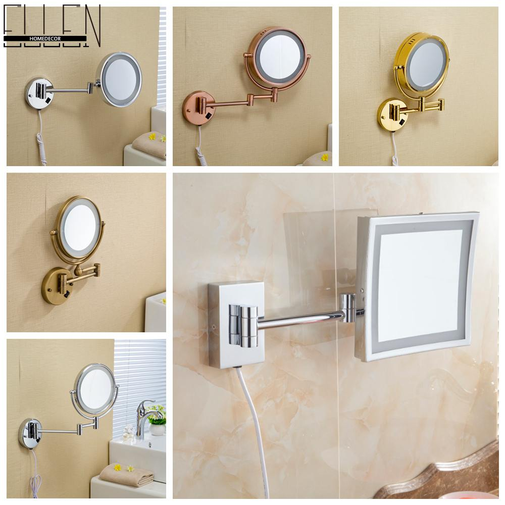 ФОТО LED 8 inch Dual Arm Extend Bathroom Mirror with LED light 2-Face Wall Hanging Makeup Mirror bath 3 x Magnification