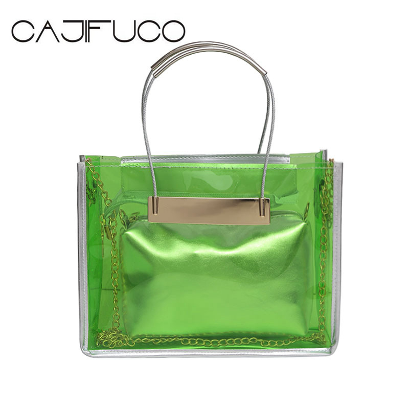 CAJIFUCO Transparent Women Tote Shoulder Bag Jelly Composite Handbags Solid Casual Purse Beach Bags Clear Chain Bag Femme handbag small composite clear bag black chain beach bag transparent clear bags for women 2018 shoulder beach bags women summer