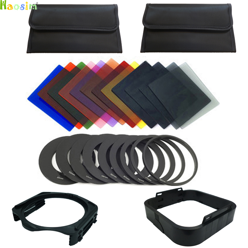 25 in1 12x Gradual Color Filter +filter holder+ 9pcs Adapter Ring+ lens hood +2 cases for Cokin P