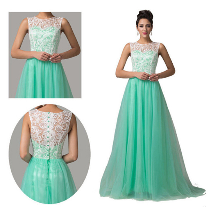 Plus Size Formal Lace Dress Elegant Long Mint Green Prom Dresses For Party School Ball 2017 Vestido Longo In From Weddings Events On