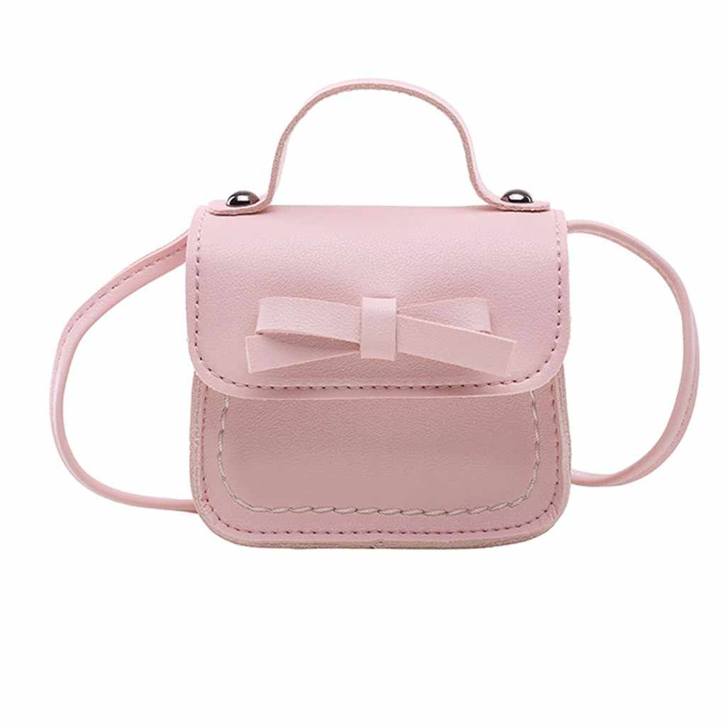 Kids Girls Princess Shoulder Bag Handbag Solid Bowknot Princess Coin Purses  2019 Newest Style Toddler Baby Messenger Bags drop