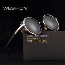 Фотография HDCRAFTER Round Steampunk Sunglasses High Quality Gothic Sun glasses Vintage Oculos De Sol Feminino Sports Goggles With Case