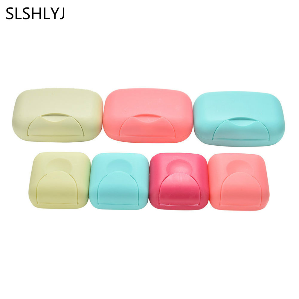 4 Colors Mini Bathroom Dish Plate Case Home Shower Travel Hiking Holder Container Soap Box 2 Size