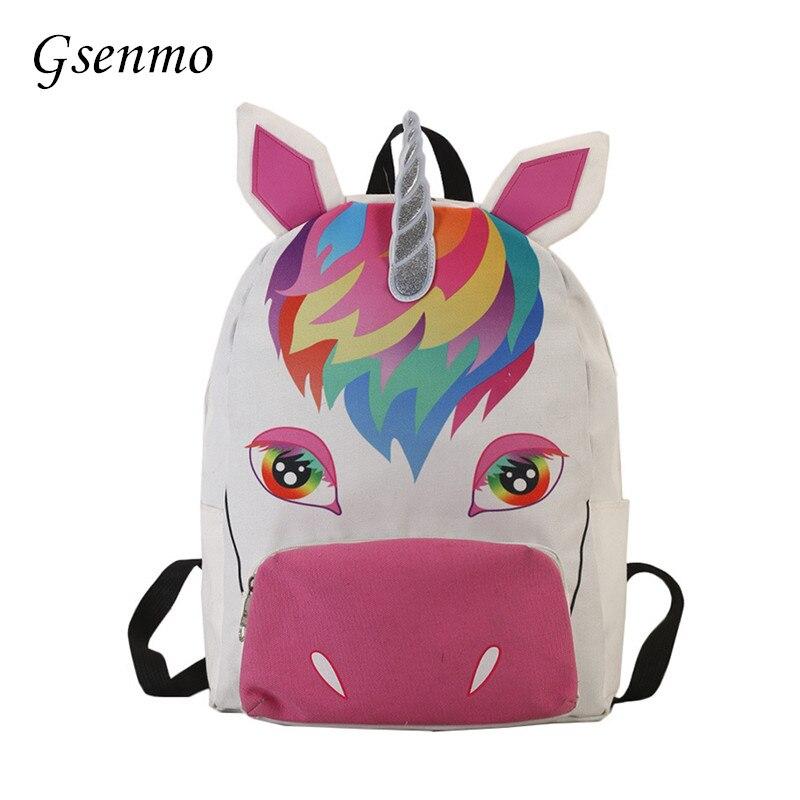 Gsenmo Women Unicorn Backpack 3D Printing Travel Softback Bag Mochila School Pink Backpack Notebook For Girls Backpacks